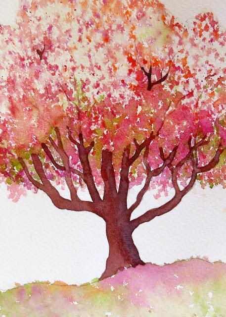 Дерево весной рисунок красками