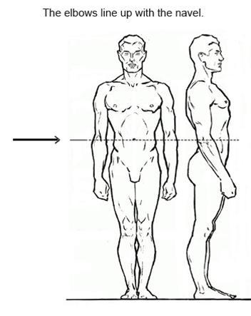 Локти расположена на одной линии с пупком