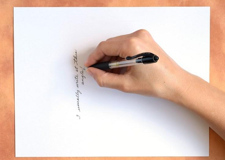 удобное расположение бумаги при письме
