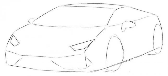 Как нарисовать спорт кар - шаг 3