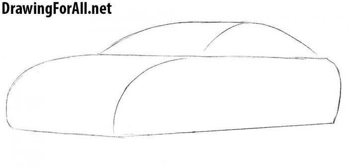 как рисовать автомобиль тесла - шаг 1
