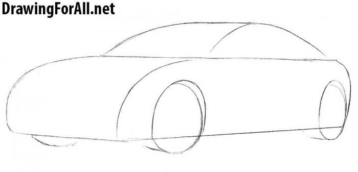 как рисовать автомобиль тесла - шаг 2