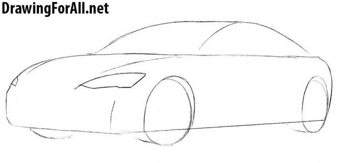как рисовать автомобиль тесла - шаг 3