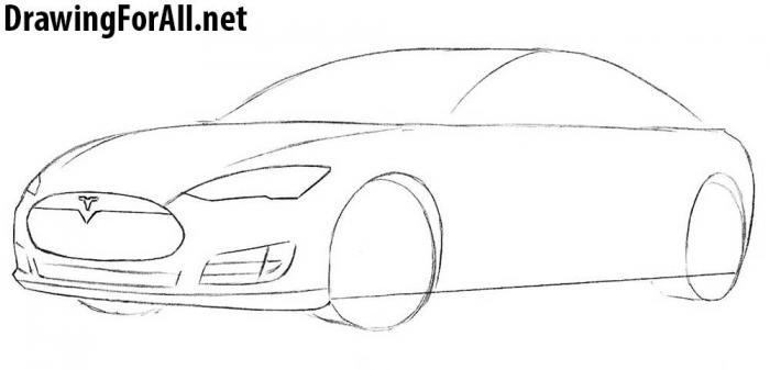 как рисовать автомобиль тесла - шаг 4