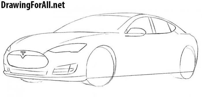 как рисовать автомобиль тесла - шаг 5