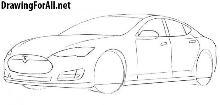как рисовать автомобиль тесла - шаг 6