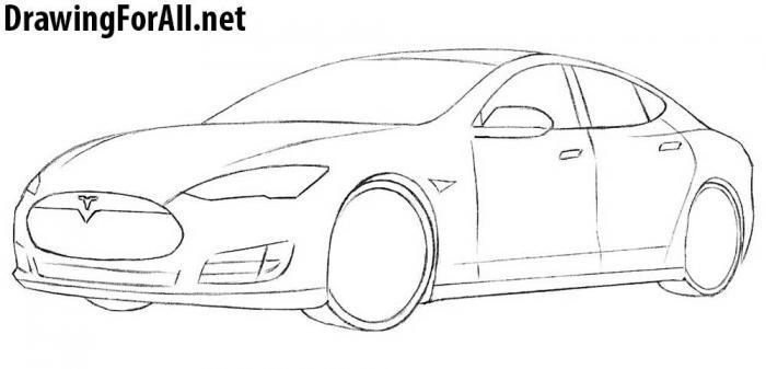 как рисовать автомобиль тесла - шаг 7