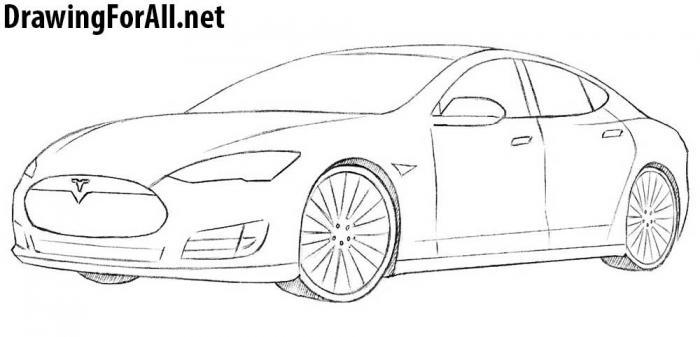 как рисовать автомобиль тесла - шаг 8