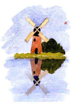 как изобразить отражения в воде акварелью пошагово