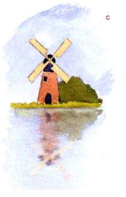отражения в воде акварелью пошагово