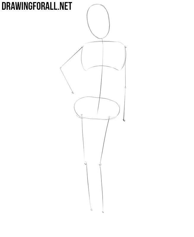 как нарисовать деловую девушку - шаг 1