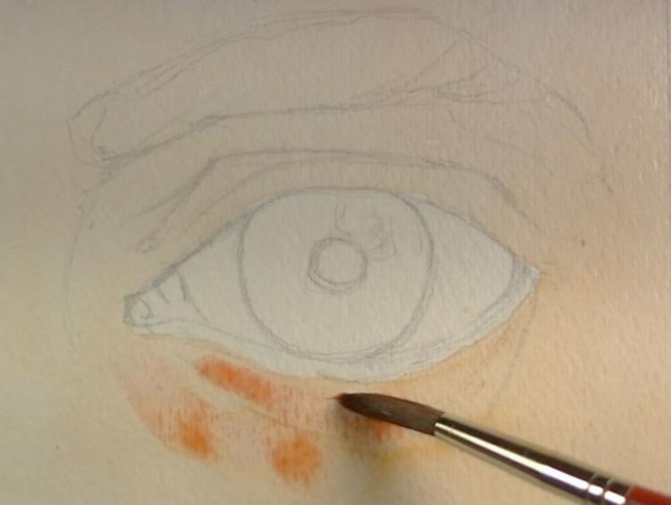 Рисуем глаза акварелью - шаг 1