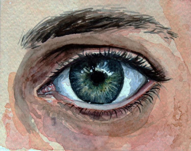 Рисуем глаза акварелью - шаг 10