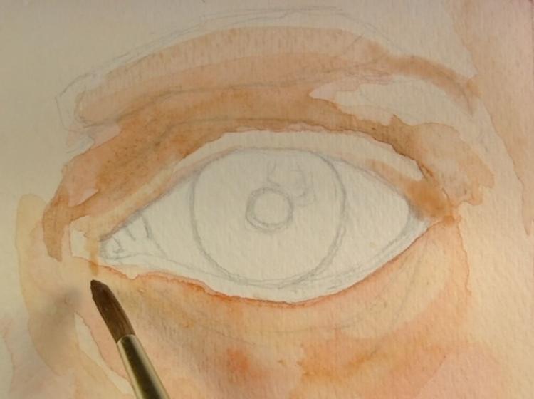 Рисуем глаза акварелью - шаг 2