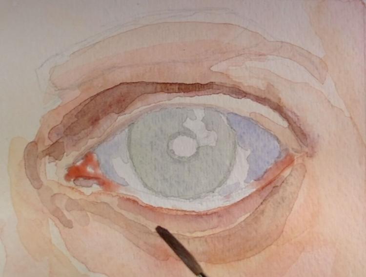 Рисуем глаза акварелью - шаг 3