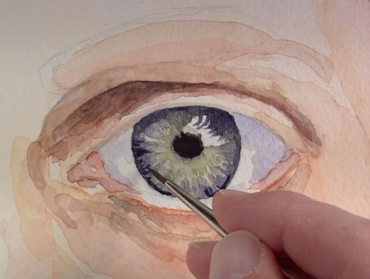 Рисуем глаза акварелью - шаг 4