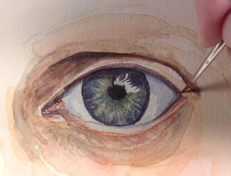 Рисуем глаза акварелью - шаг 5