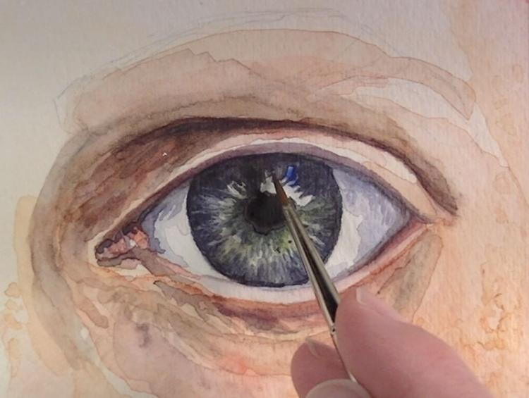 Рисуем глаза акварелью - шаг 6