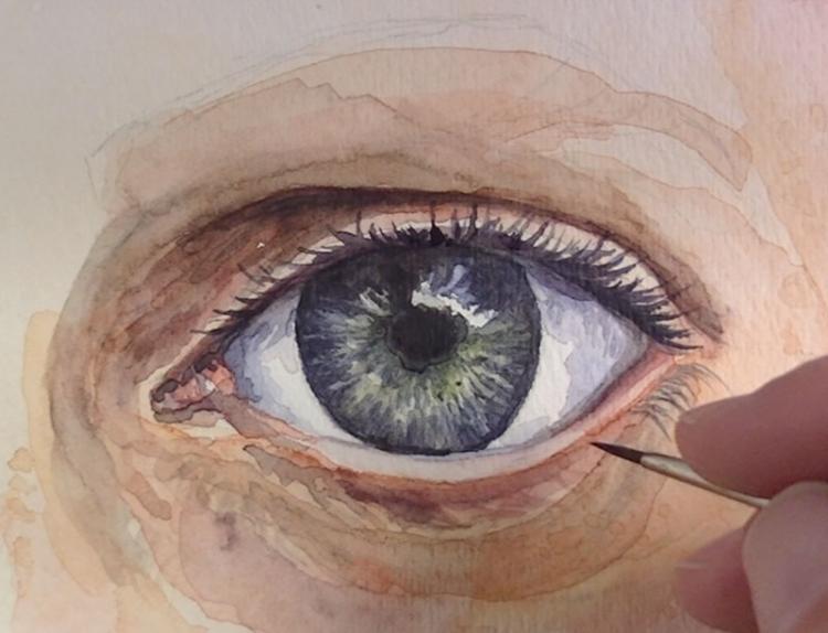 Рисуем глаза акварелью - шаг 7
