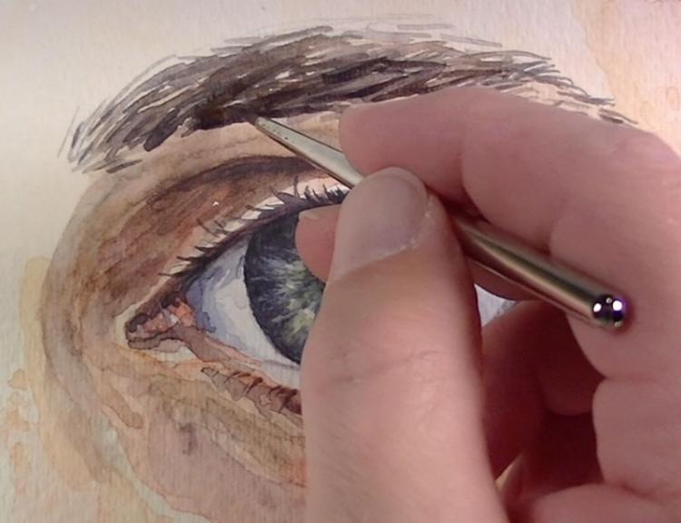 Рисуем глаза акварелью - шаг 8
