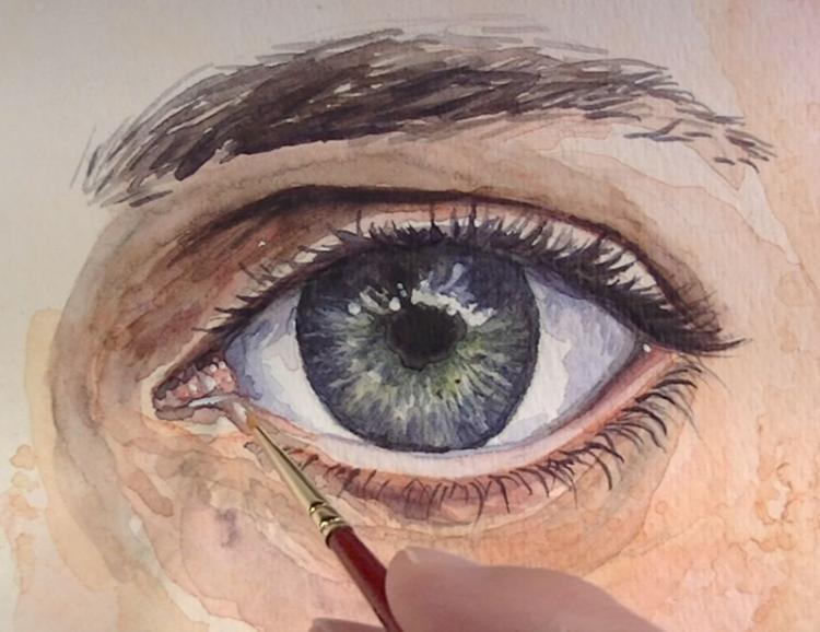 Рисуем глаза акварелью - шаг 9