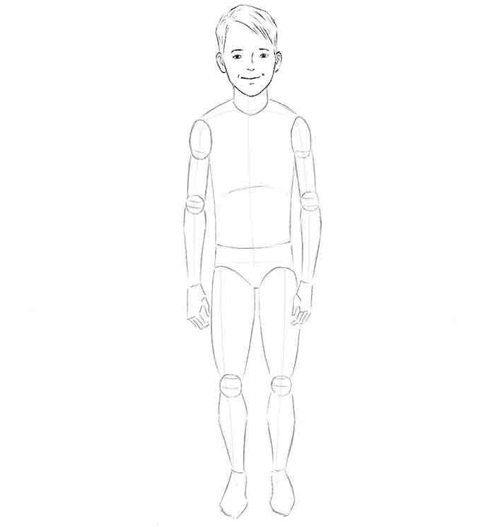 Как нарисовать мальчика - шаг 4