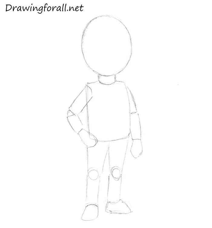 Как нарисовать маленького мальчика - шаг 3