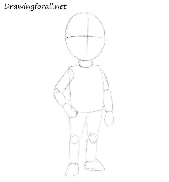 Как нарисовать маленького мальчика - шаг 4