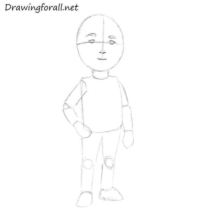 Как нарисовать маленького мальчика - шаг 5