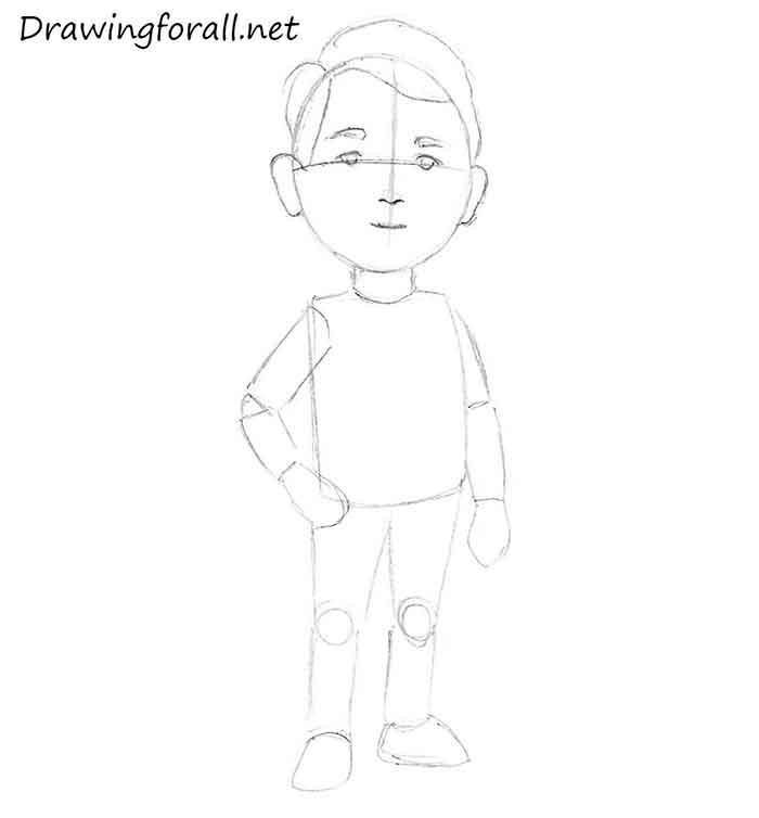 Как нарисовать маленького мальчика - шаг 6