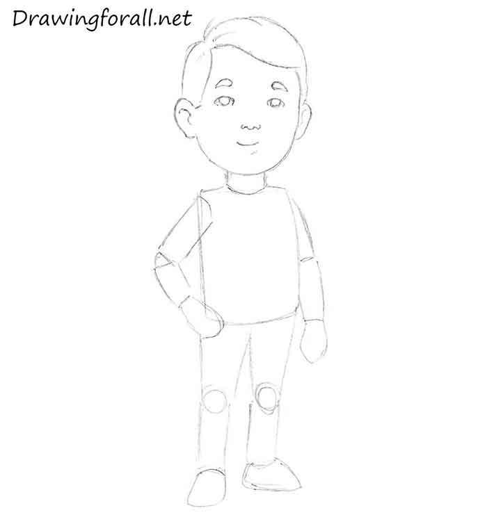 Как нарисовать маленького мальчика - шаг 7