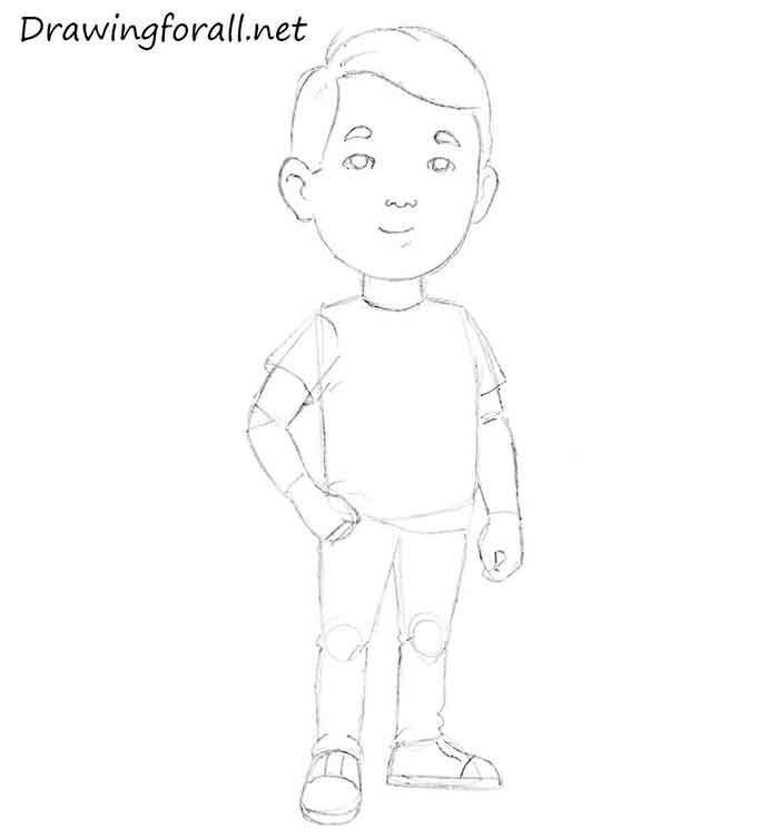 Как нарисовать маленького мальчика - шаг 8