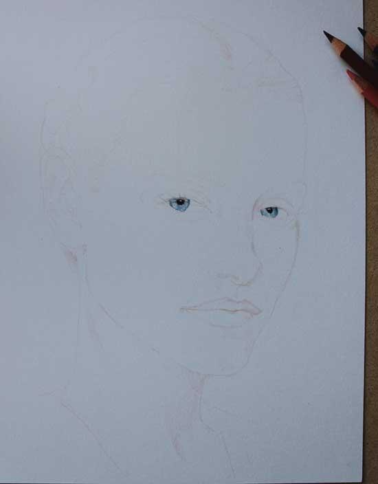 Рисуем реалистичный портрет цветными карандашами - шаг 1
