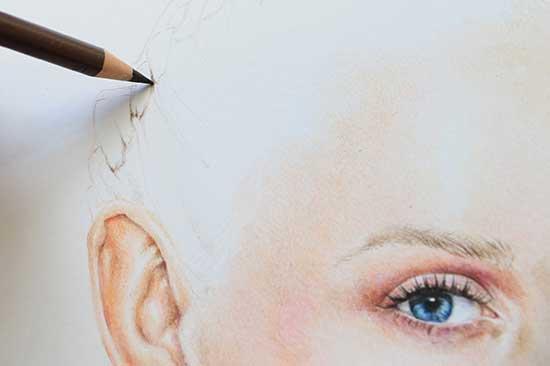 Рисуем реалистичный портрет цветными карандашами - шаг 15