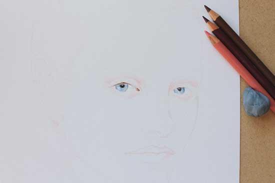 Рисуем реалистичный портрет цветными карандашами - шаг 2