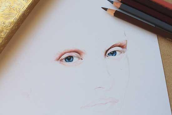 Рисуем реалистичный портрет цветными карандашами - шаг 3
