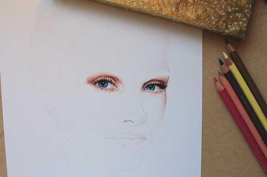 Рисуем реалистичный портрет цветными карандашами - шаг 4