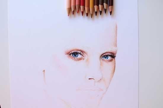 Рисуем реалистичный портрет цветными карандашами - шаг 5