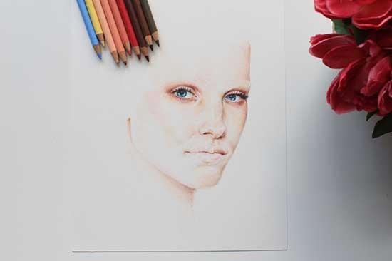 Рисуем реалистичный портрет цветными карандашами - шаг 6