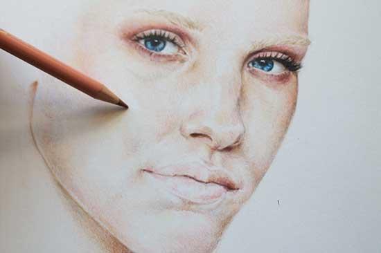 Рисуем реалистичный портрет цветными карандашами - шаг 8