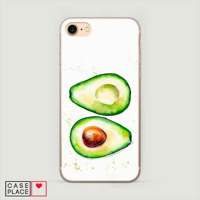 Силиконовый чехол для телефона с печатью принта Акварельные авокадо