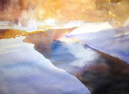 Рисуем ледяную реку акварелью - шаг 1