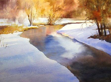 Рисуем ледяную реку акварелью - шаг 2