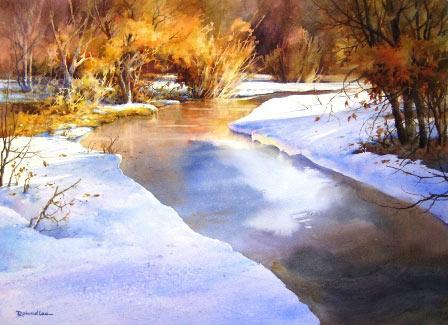 Рисуем ледяную реку акварелью - шаг 3