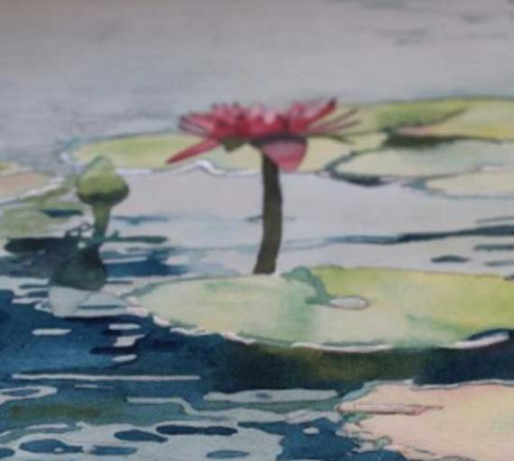 Рисуем кувшинки и отражения на воде